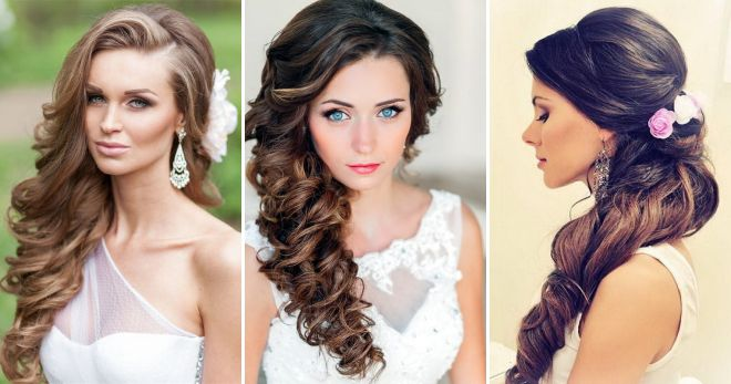 Hairstyle wedding on the side for long hair