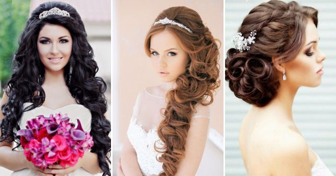 Hairstyle of the bride for long hair