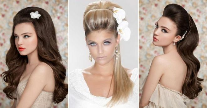 Wedding hairstyle for long hair with a fleece