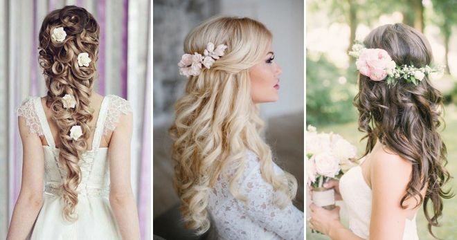 Wedding hairstyles with flowers for long hair