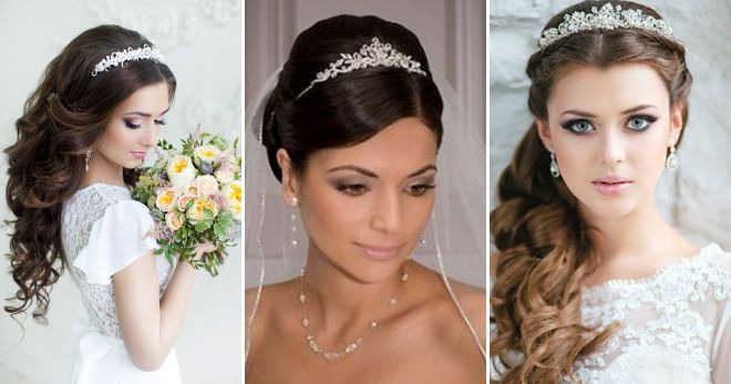 Wedding hairstyle for long hair with jewelled Crown