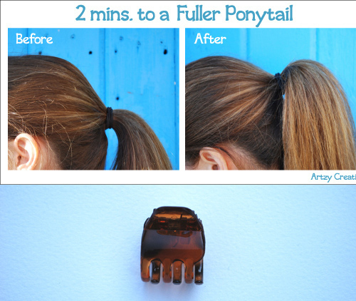 Give the tail extra volume with a hair clip. Hairstyling Hacks for Lazy Girl