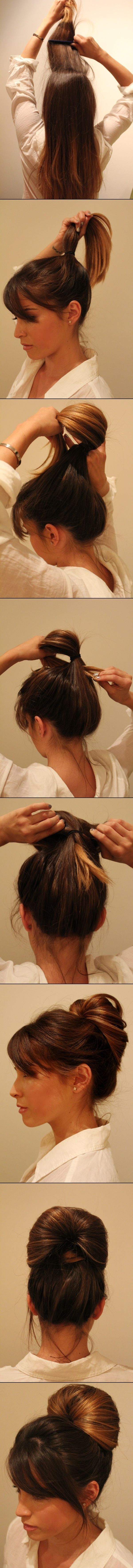 This hairstyle is easily done in a minute and looks quite professional Hairstyling Hacks for Lazy Girl