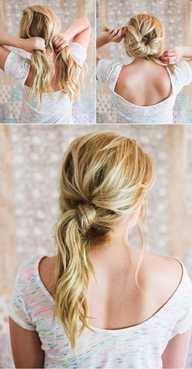 If there is no time to wash your hair, collect the hair in a complex tail Hairstyling Hacks for Lazy Girl