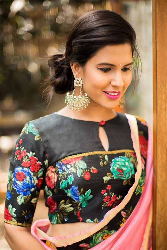 Floral printed blouse design: Latest Saree Blouse Designs collection for 2020
