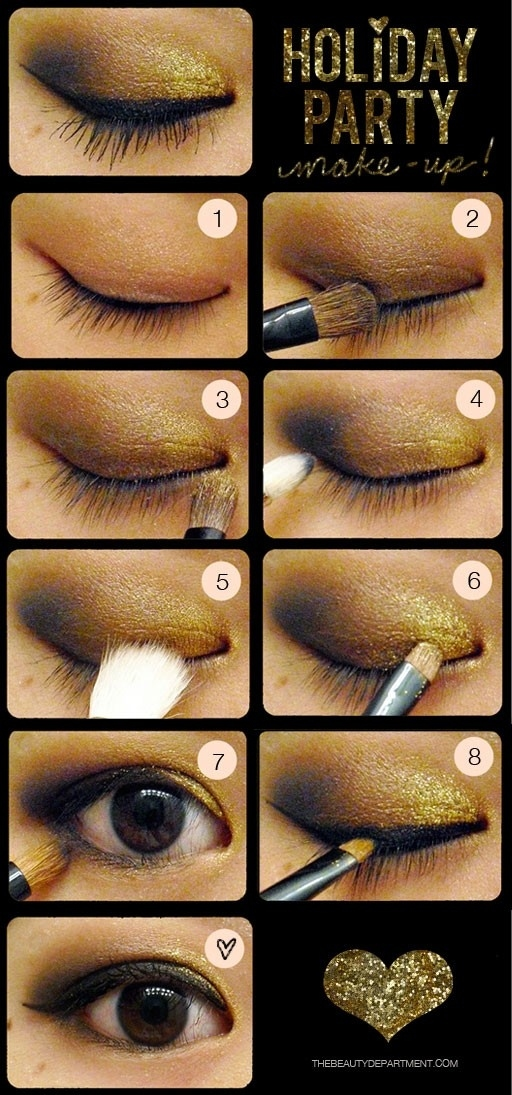 Golden make-up for the eyes. Makeup Tutorial for Glamorous and Dramatic Holiday Looks