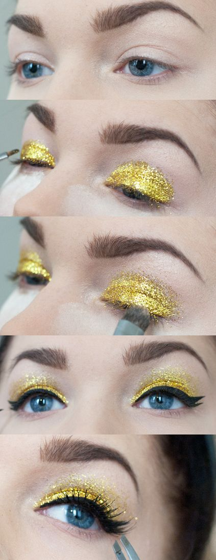 Gold shine Makeup Tutorial for Glamorous and Dramatic Holiday Looks