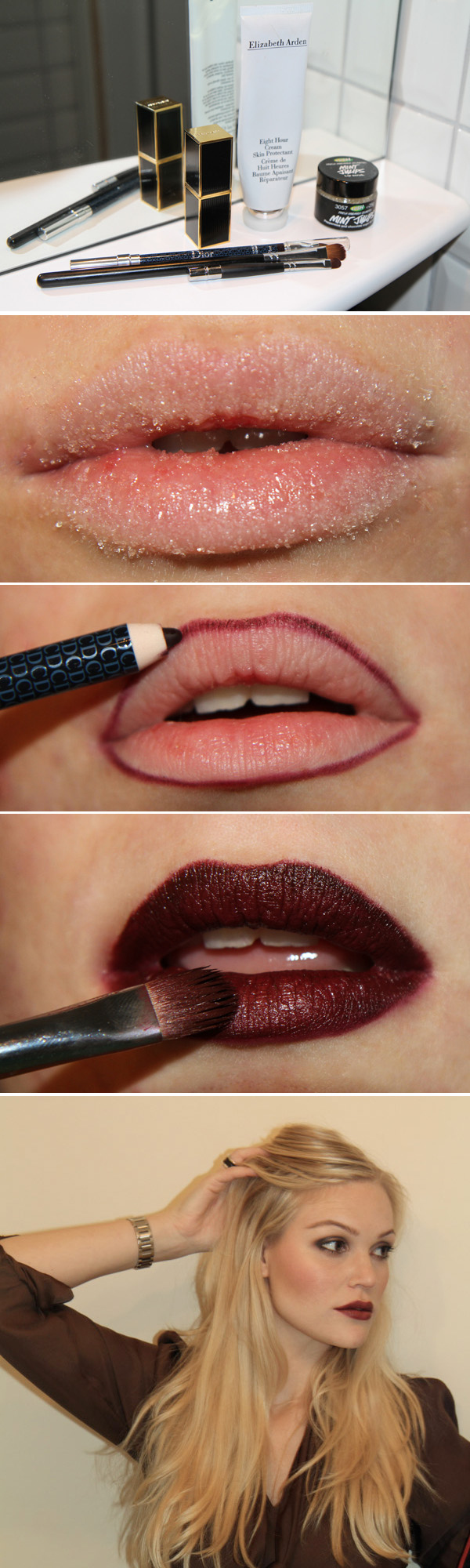 Mini-lesson on applying dark lipstick Makeup Tutorial for Glamorous and Dramatic Holiday Looks