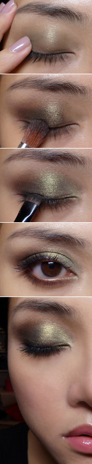 Make-up for eyes in golden-olive colors Makeup Tutorial for Glamorous and Dramatic Holiday Looks