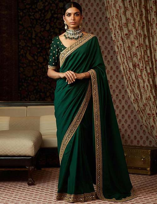 Round neck blouse design: Amazing and Latest Saree Blouse Designs for Wedding & Party