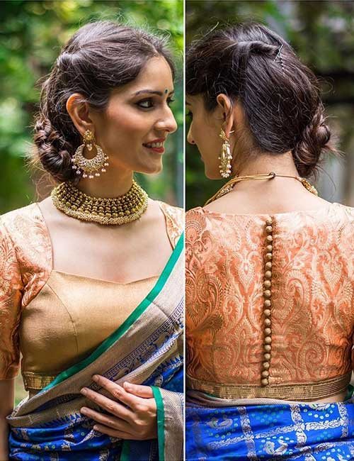 . Back buttons blouse design: Amazing and Latest Saree Blouse Designs for Wedding & Party