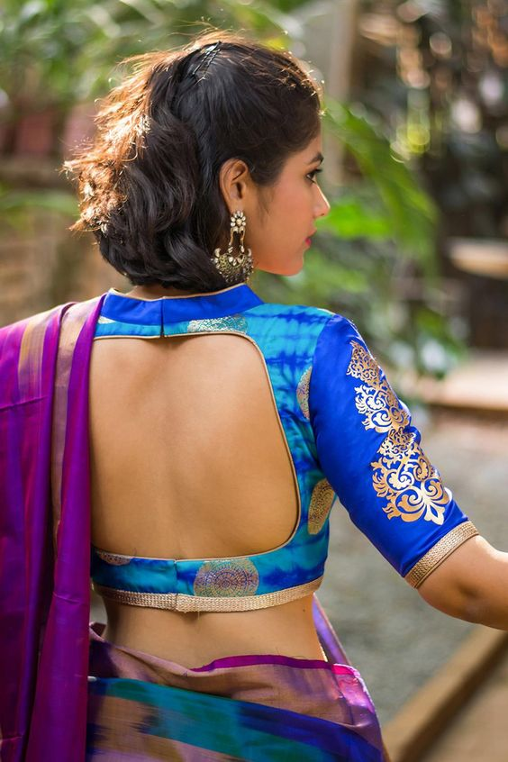 Almost backless blouse design: Latest Saree Blouse Designs collection for 2020