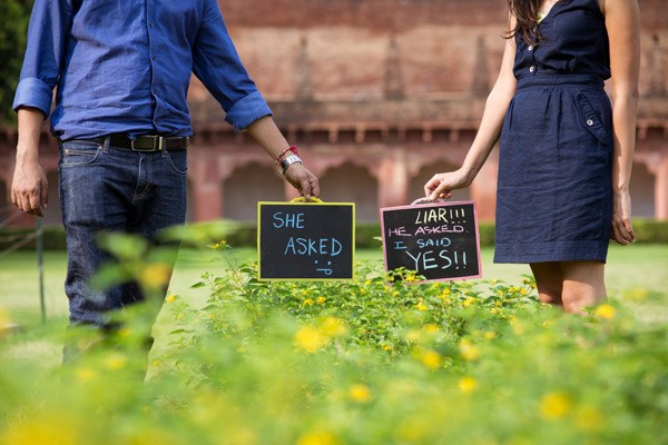 Board props outdoor couple photoshoot Fabulous Pre-Wedding Shoot Ideas for Every Kind Of Couple!