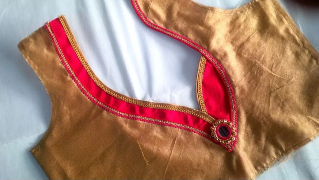 Simple and Easy Blouse Back Neck Designs Cutting and Stitching