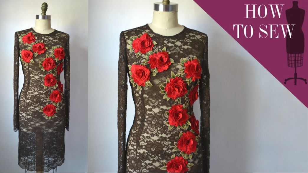 How To Sew A Lace Flower Applique Sheath Dress How to Decorate Kurti Front Neck