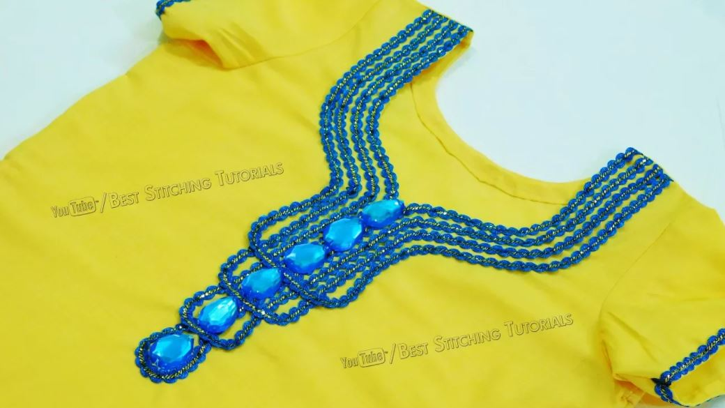 Kurti Front Neck Design using Lace and Kundan How to Decorate Kurti Front Neck