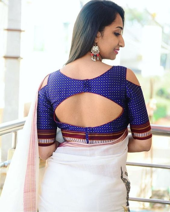 Back cutout blouse design: Simple and Stylish Blouse Back Neck Designs