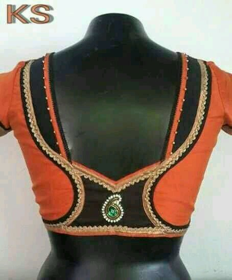 Orange and black blouse design: Best Types Of Blouse Designs Patterns For Every Woman