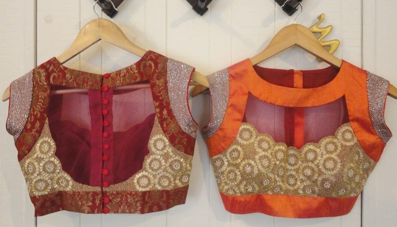 Sheer back blouse design: Simple and Stylish Blouse Back Neck Designs