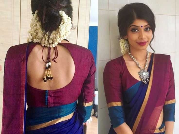 Pot neck blouse design: Simple and Stylish Blouse Back Neck Designs
