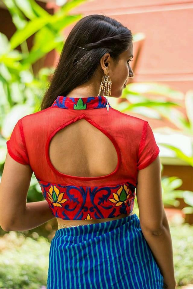 Drop-shaped blouse back neck design Stylish and Trendy Blouse Back Neck Designs