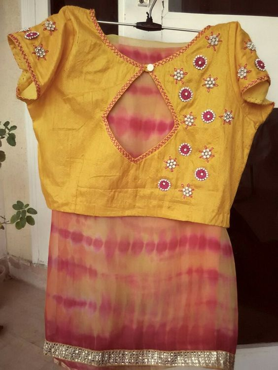 Back embroidered blouse design: Simple and Stylish Blouse Back Neck Designs