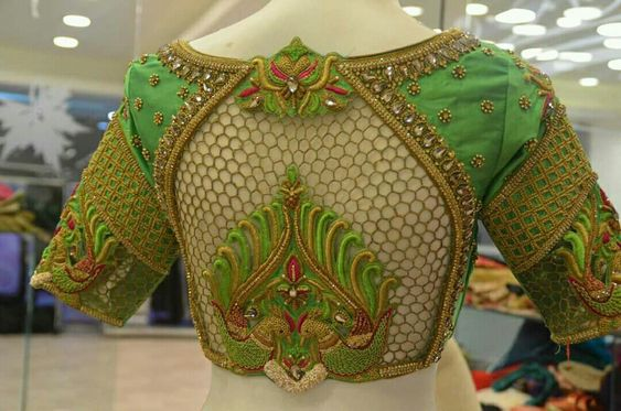 Fishnet-style blouse design Latest Saree Blouse Back Designs for Modern Look