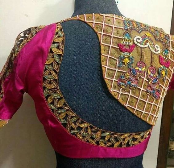 Asymmetrical cut blouse design Latest Saree Blouse Back Designs for Modern Look