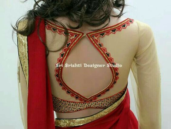 Leaf-shaped blouse design: Bridal Blouse Design Collection for Wedding