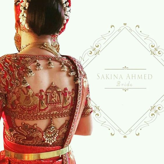 Traditional motifs blouse design: Bridal Blouse Design Collection for Wedding