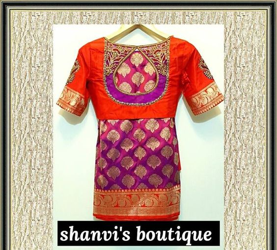 Drop-shaped blouse design: Bridal Blouse Design Collection for Wedding