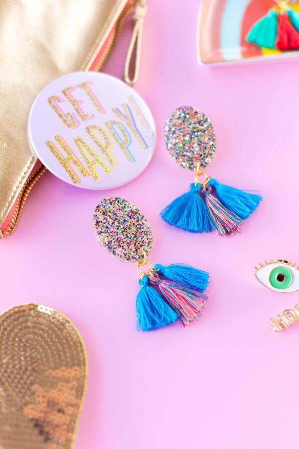 Glitter Tassel Earrings DIY Glitter Fashion Trends To Try This Season