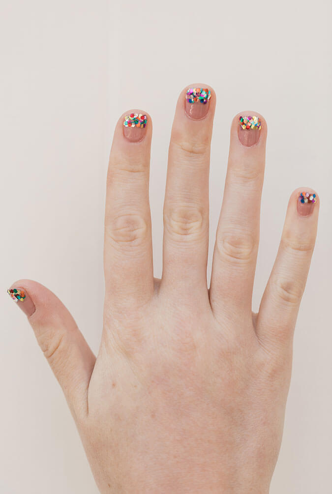 Glitter-Tipped Mani DIY Glitter Fashion Trends To Try This Season