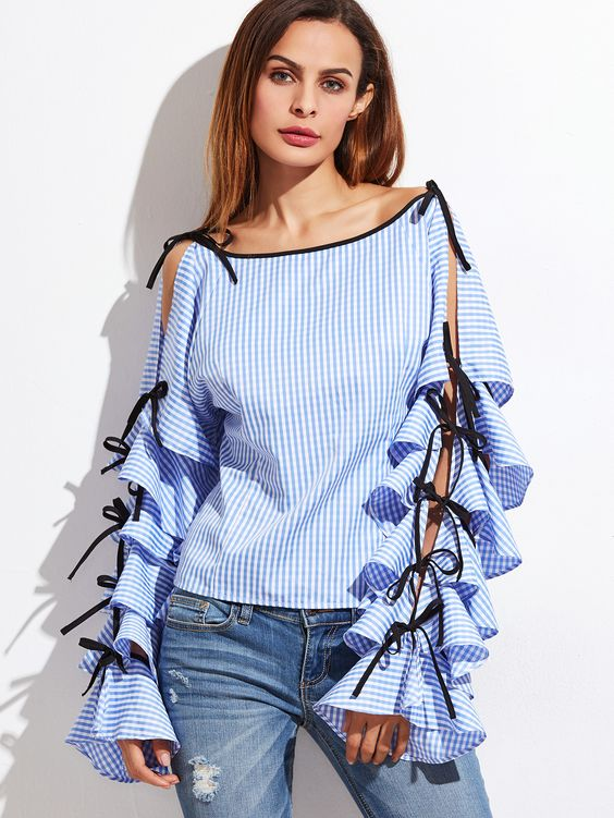Slit sleeves blouse design Trending Blouses with Stylish Sleeves For This Summer