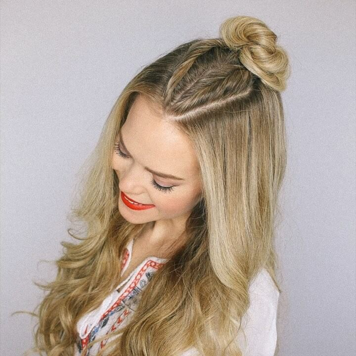 Mohawk Braid Top Knot   Half Up Hairstyle Quick and Easy French Braid Hairstyles for Girls