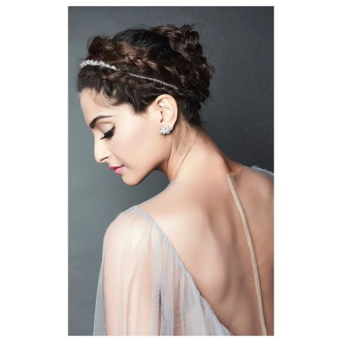 HEADBAND AND BRAIDED BUN Sonam Kapoor Hairstyles For Your Perfect Look