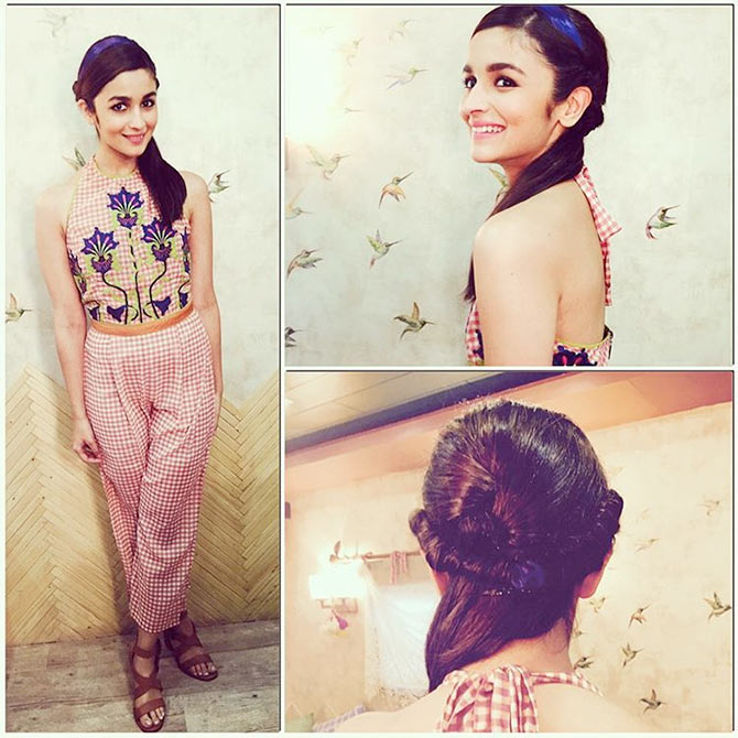 Alia Bhatt looking super cute in a THE RETRO KNOT Super Attractive Hairstyles of Alia Bhatt  for Short/Medium/Long hair