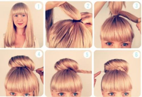BRAIDED TOP BUN WITH FRINGES Lovely & Easy Hair Bun Styles Long Hair Inspired From Celebrities