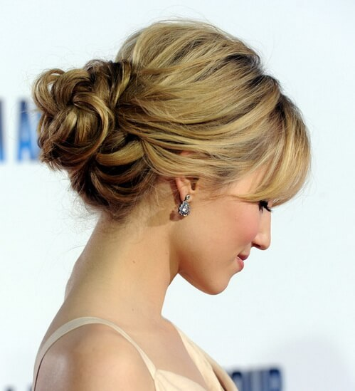 MESSY BUN WITH SIDE BANGS Lovely & Easy Hair Bun Styles Long Hair Inspired From Celebrities