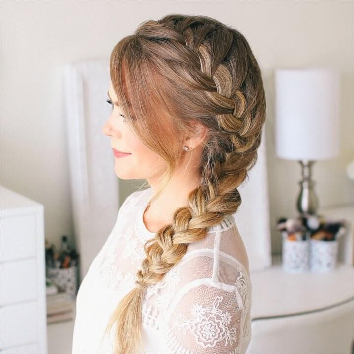 Side French Braid Quick and Easy French Braid Hairstyles for Girls