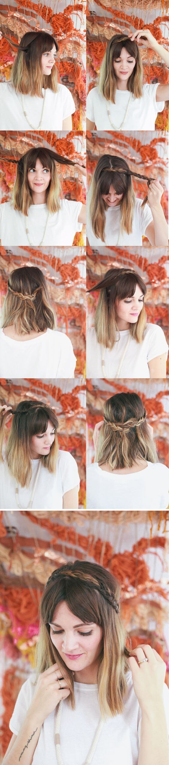 Braid Headband Hairstyle in greek style Greek hairstyle for short hair (Step by step tutorial)