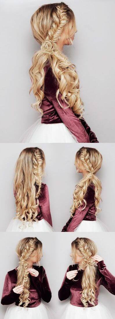 Fish Tail with a Flower Elegant Prom Hairstyles For Long & Short Hair