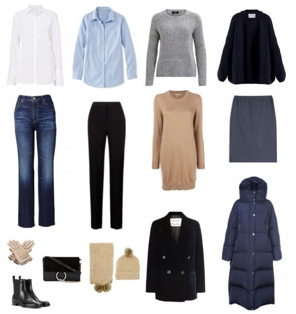 Features of the basic winter wardrobe of a women includes shirt, sweater, shoes, bag, skirt, gloves, coat etc.