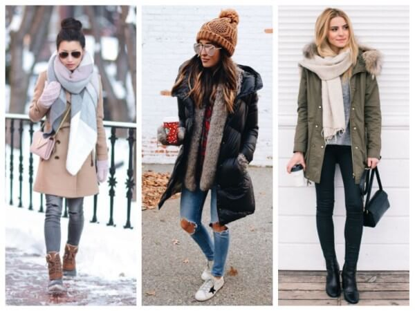 Women's quilted down coat with thick winter scarf, shawls and wraps around the neck for winter season