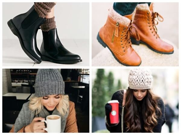 Women's winter accessories like black & brown shoes with knitted cap