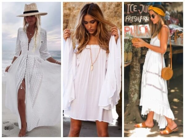 White Dress Stylish Beach Outfit Ideas For Women This Summer