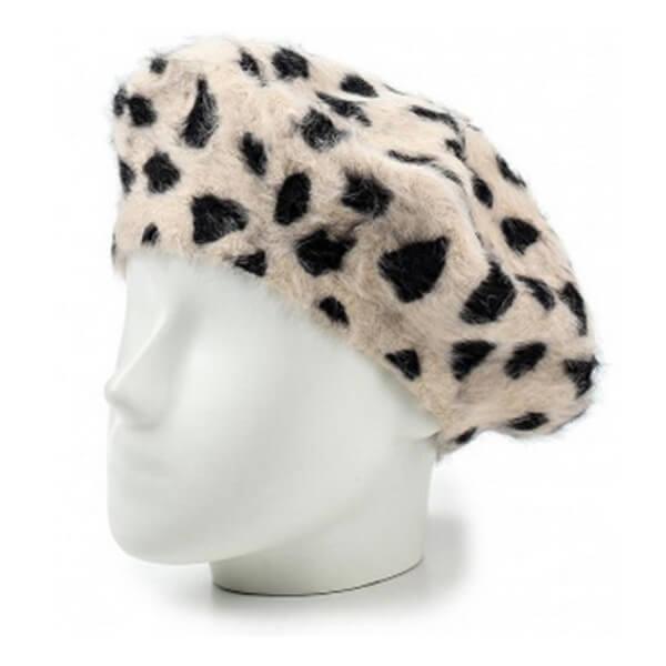 White & black faux fur beret for winter season
