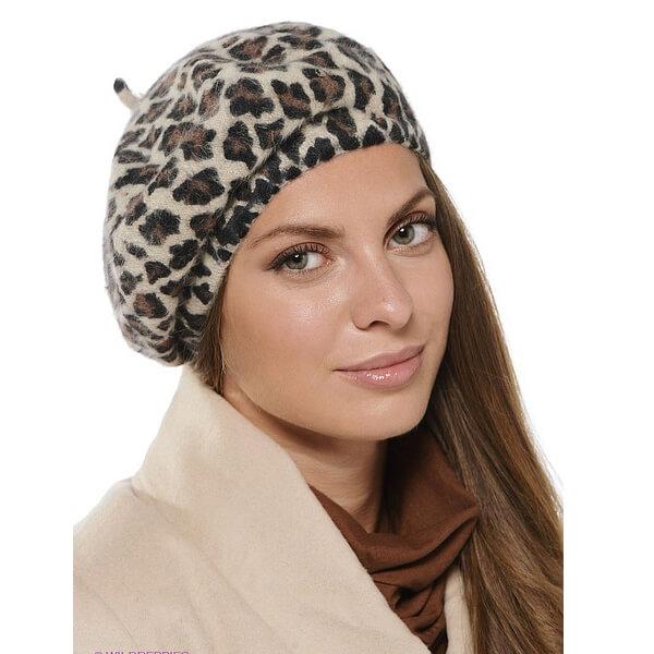 Female leopard beret for spring, autumn, winter season
