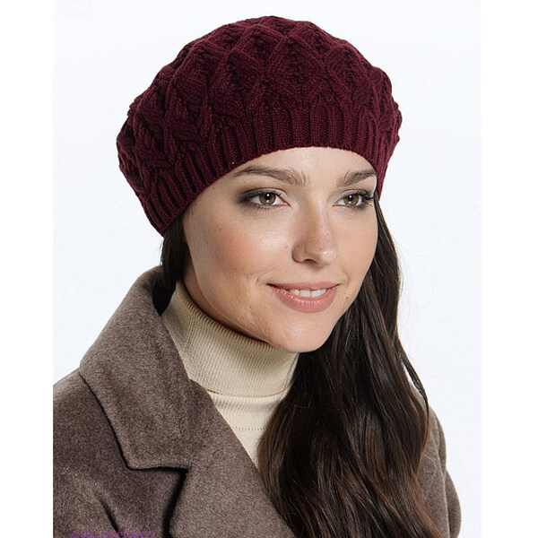 Women solid maroon basket beanie beret hat lined for winter
