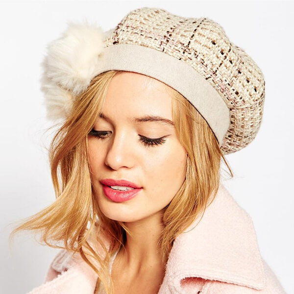Beautiful women's white crochet knit beret cap for winter season